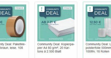 Community Deals: Günstiges Klebeband, Luftpolsterfolie und Kopierpapier durch gemeinsamen Einkauf!