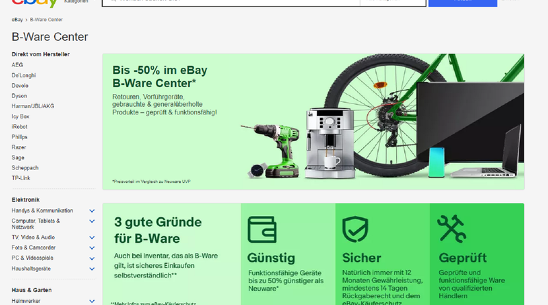 eBay B-Ware Center gestartet